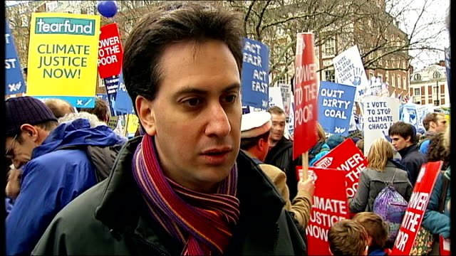climate change campaigners march in london: ed miliband interview; england: london: ext ed miliband mp interview sot - on the demonstration in... - no doubt band stock videos & royalty-free footage