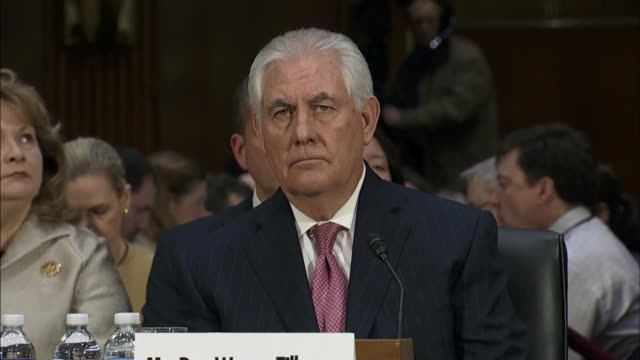 climate change / concerns over donald trump presidency int rex tillerson appearing before confirmation hearing scott pruitt at confirmation hearing - exxon stock videos & royalty-free footage