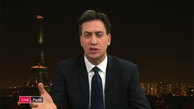 Ed Miliband backs UK 'zero carbon emissions' target ENGLAND London GIR INT Ed Miliband MP 2 WAY interview from Paris SOT re his backing of UK carbon...