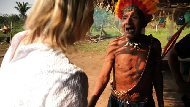 earth on the edge series: amazon rainforest fires threaten indigenous tribes; brazil, rodonia; uru-eu-wau-wau reservation gvs / amazon rainforest... - indigenous culture stock videos & royalty-free footage