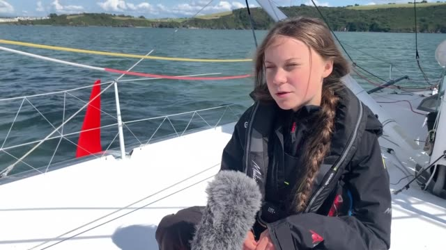 greta thunberg training on yacht off plymouth ahead of atlantic voyage england devon off plymouth greta thunberg interview on board yacht malizia ii... - social issues stock videos & royalty-free footage