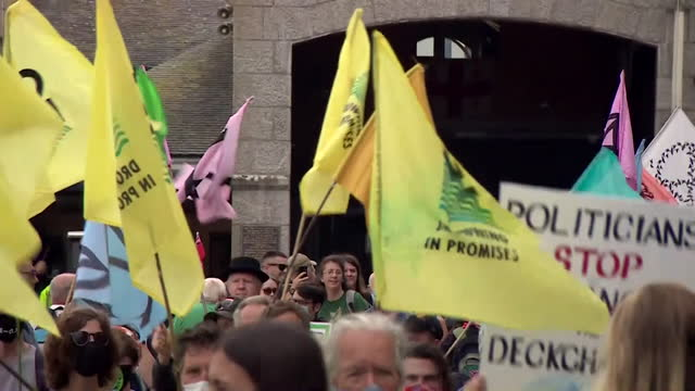 climate change protest in st ives, cornwall, whilst the g7 summit is being held in the area - environmental issues stock videos & royalty-free footage