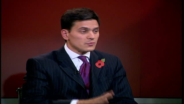 stern report / new bill promised by chancellor england london gir int david miliband mp george monbiot and trewin restorick live studio interview sot... - david miliband stock videos & royalty-free footage