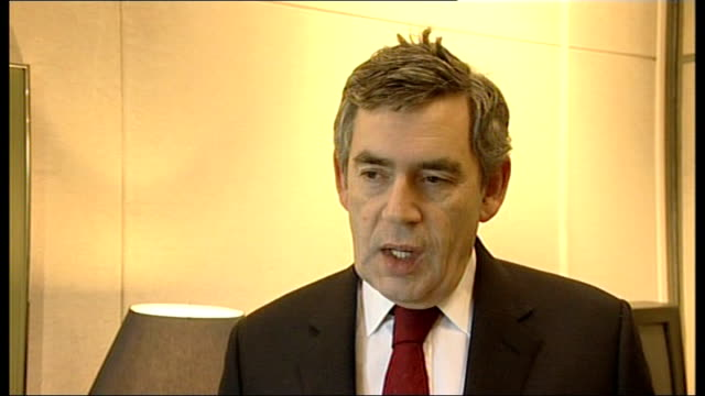 secretary general appeal; england: int gordon brown mp interview sot - this is a wake up call for the whole world/ britian has led the way the first... - secretary general stock videos & royalty-free footage