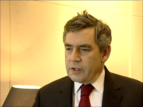 secretary general appeal; int gordon brown mp interview sot - this is a wake up call for the whole world / britian has led the way / the first... - secretary general stock videos & royalty-free footage