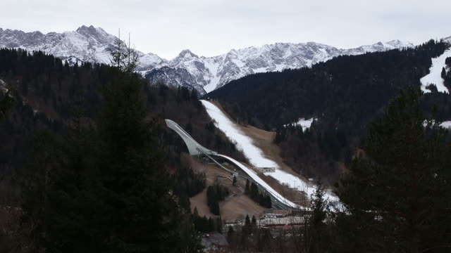 climate changes seen during ski season in tourist resort at bavarian alps garmischpartenkirchen bayern germany on wednesday january 8 2020 - ski resort stock videos & royalty-free footage