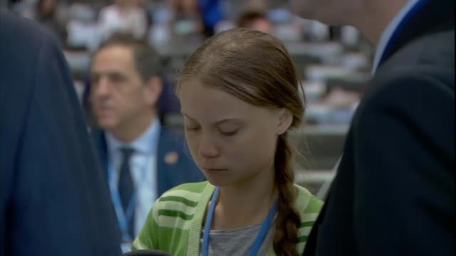 activist greta thunberg named time magazine person of the year spain madrid ifema int various shots of greta thunberg chatting with group - climate activist stock videos & royalty-free footage
