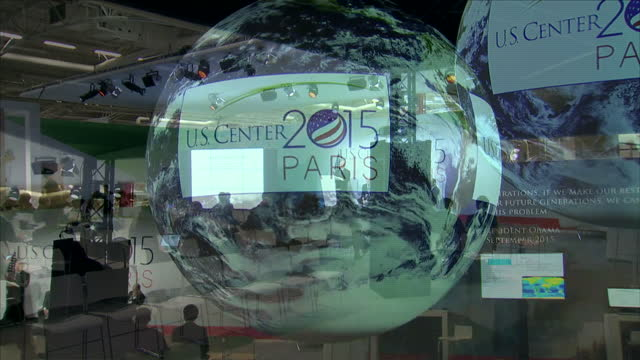COP21 climate conference underway in Paris Shows interior shots conference room at the US Center 2015 on December 01 2015 in Paris France