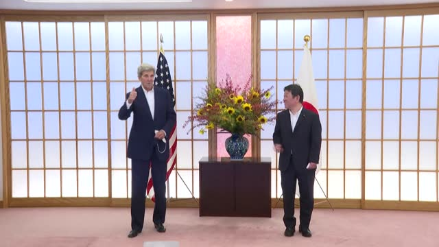 climate envoy john kerry meets with japanese foreign minister toshimitsu motegi in tokyo, to hold disucssions ahead of november's key cop26 climate... - report produced segment stock videos & royalty-free footage