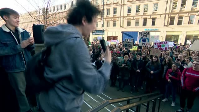 thousands of school pupils march uk protest against climate change england south yorkshire sheffield demonstrator addressing crowd sot pan crowd of... - climate stock videos & royalty-free footage