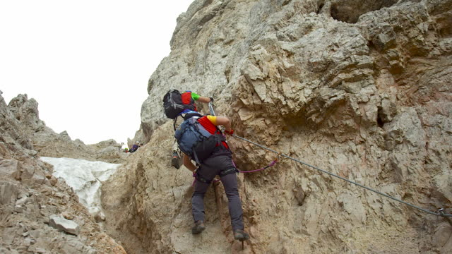 Climb upward with a climbing harness and carabiner