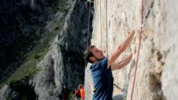 Climber  limestone route in Remetea, Romania