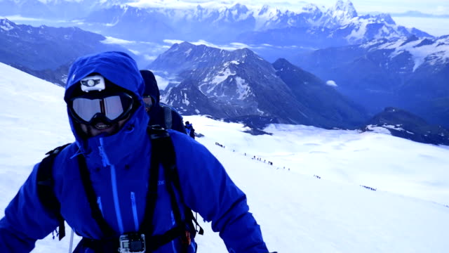 climber on a mountain side. caucasus mountains. equipment details - climbing equipment stock videos & royalty-free footage