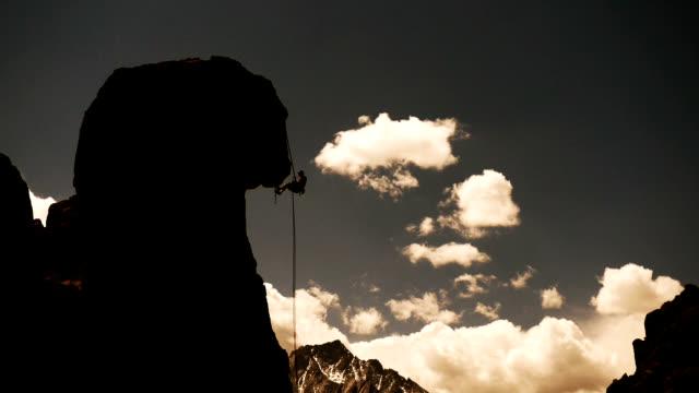 Kletterer Abseilen