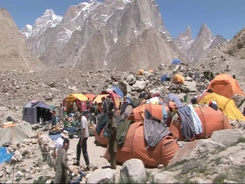 climbers' camp and climate station, himalayas - wetterstation stock-videos und b-roll-filmmaterial