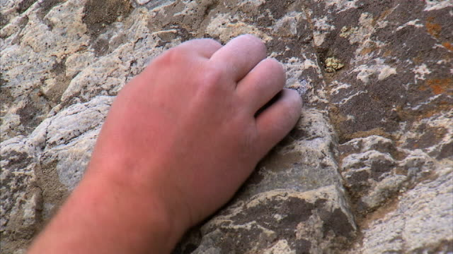 cu climber's hand on rock / provo, utah, usa - provo stock videos & royalty-free footage