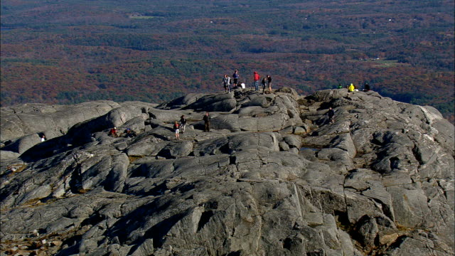 climbers on monadnock mountain  - aerial view - new hampshire,  cheshire county,  united states - new england usa stock videos & royalty-free footage