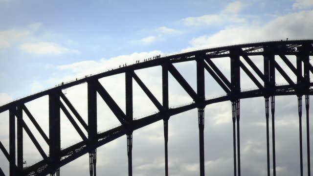 climbers on the sydney habour bridge - climbing stock videos & royalty-free footage