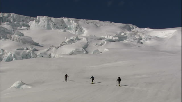 Climbers walk along upper part of Athabasca Glacier, Canada