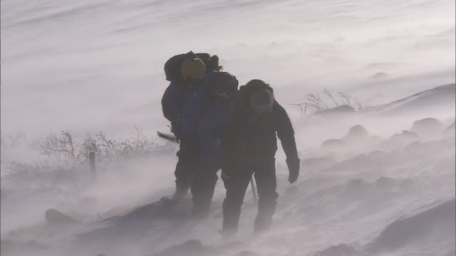 climbers_daisetsuzan volcanic group in winter, hokkaid_ - snow storm stock videos and b-roll footage