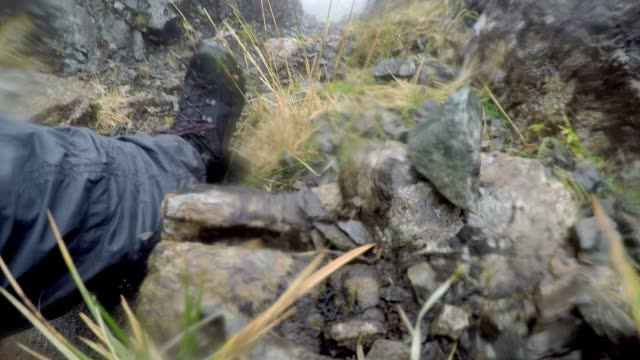 Climbing down a rocky mountain in bad weather, hiking in low visibility, Black Cuillin ridge, Isle of Skye, Scotland