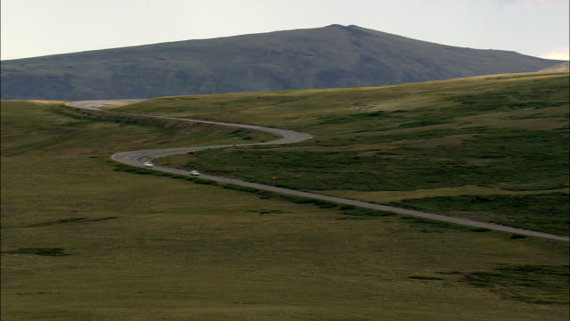 Climbing Over Beartooth Pass To State Border  - Aerial View - Montana, Carbon County, United States