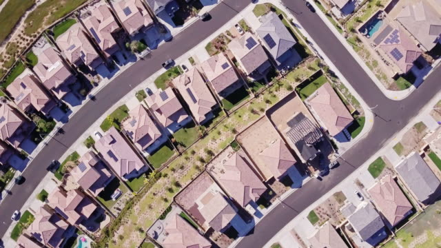 climbing rotating aerial view of suburban homes - santa clarita stock videos & royalty-free footage