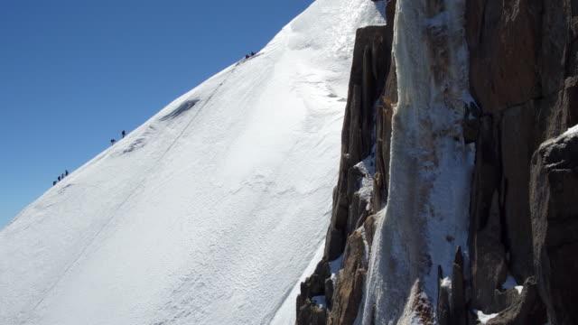 climbing to aiguille du midi - mont blanc stock videos & royalty-free footage