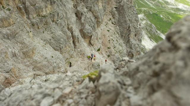 climbing tour near the three peaks - tre cimo di lavaredo stock videos & royalty-free footage