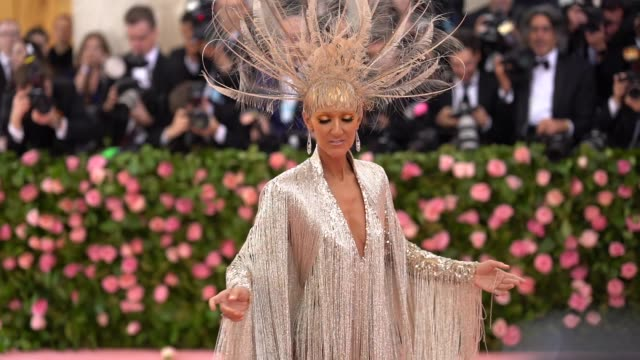 céline dion at the 2019 met gala celebrating camp notes on fashion arrivals at metropolitan museum of art on may 06 2019 in new york city - céline dion stock videos & royalty-free footage