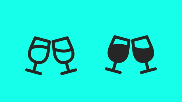 vídeos de stock e filmes b-roll de clink glasses icons - vector animate - copo de vinho