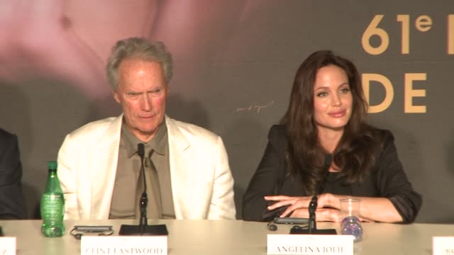 Clint Eastwood and Angelina Jolie on his birthday at the 2008 Cannes Film Festival Changeling press conference in Cannes on May 20 2008