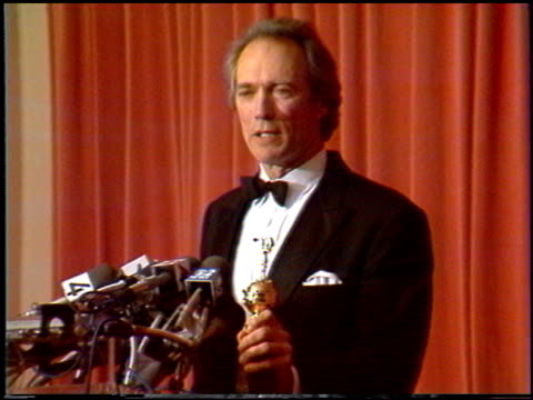 clint eastwood at the 1988 golden globe awards at the beverly hilton in beverly hills, california on january 23, 1988. - 1988 stock videos & royalty-free footage