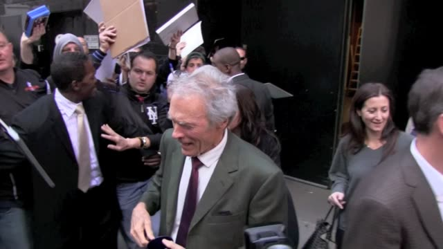 Clint Eastwood makes for a quick exit as he departs 'Good Morning America' in New York 11/07/11