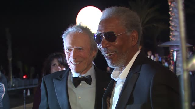 clint eastwood morgan freeman at the 21st annual palm springs international film festival opening night gala at palm springs ca - morgan freeman stock videos & royalty-free footage