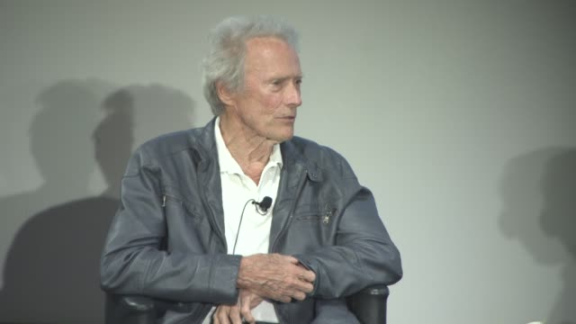 clint eastwood on growing up when the depression started in the u.s. at cinema masterclass with clint eastwood on may 21, 2017 in cannes, france. - クリント・イーストウッド点の映像素材/bロール