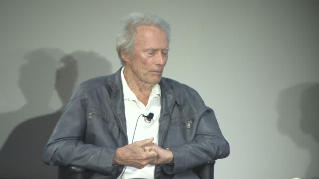 clint eastwood on starring for the first time in a western feature film at cinema masterclass with clint eastwood on may 21, 2017 in cannes, france. - クリント・イーストウッド点の映像素材/bロール