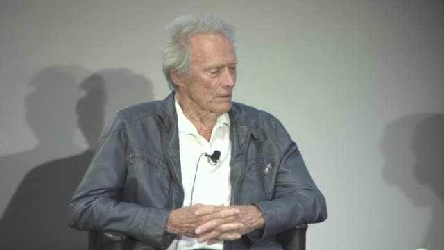 clint eastwood on the script of 'unforgiven' at cinema masterclass with clint eastwood on may 21, 2017 in cannes, france. - クリント・イーストウッド点の映像素材/bロール