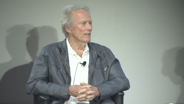 clint eastwood on western films being pure escapism at cinema masterclass with clint eastwood on may 21, 2017 in cannes, france. - クリント・イーストウッド点の映像素材/bロール