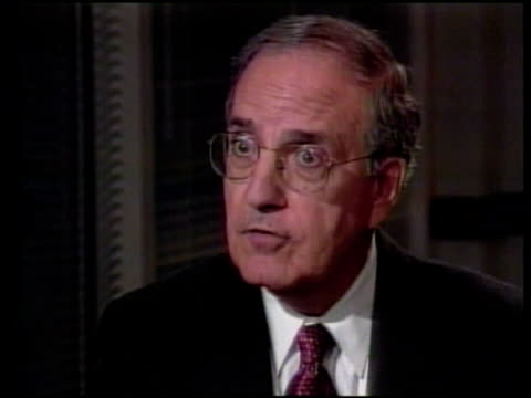 day two; itn int senator george mitchell interview sot - what clinton did was not deserving of the nuclear weapon of throwing him out of office - 1990 1999 stock videos & royalty-free footage