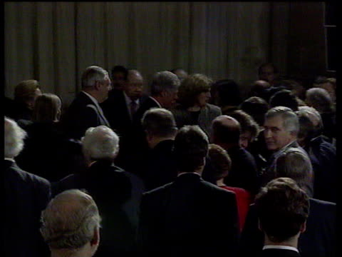 belfast: queens university: int tls clintons along l-r through crowd cms david trimble talking to man cms martin mcguinness talking to adams tms... - belfast stock videos & royalty-free footage