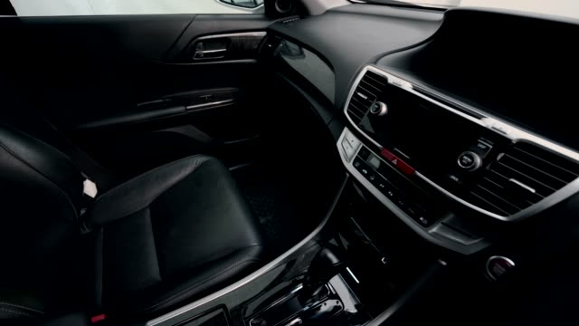 4k clip footage interior modern car, black leather seat inside. - speedometer stock videos & royalty-free footage