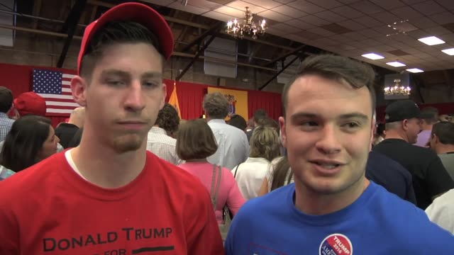 Interview with a Trump supporter who is wearing an Obama shirt This event is charging $200 per head Clip Interview with two young male supporters...