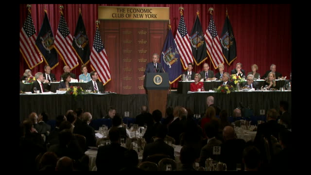 stockvideo's en b-roll-footage met clip of a george w bush speech at the economic club of new york - george w. bush