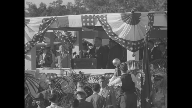 clip of ms president franklin d roosevelt at podium on buntingfestooned stage giving speech at 75th anniversary of the battle of gettysburg sot he... - gettysburg stock videos & royalty-free footage
