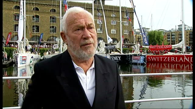 yachts on first leg in english channel london st katharine docks ext sir robin knoxjohnston interview sot they're going to learn so much about... - first leg stock videos and b-roll footage