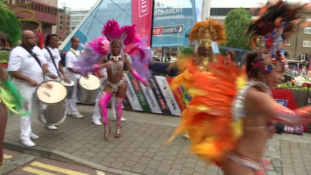 clipper round the world yacht race launches in london england london st katherine's dock ext samba dancers and drummers attending the start of the... - キャシー・ニューマン点の映像素材/bロール