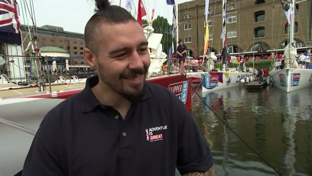 clipper round the world yacht race launches in london gavin reed intrview sot cage fighter dan hardy talking to reporter dan hardy interview sot... - galeere stock-videos und b-roll-filmmaterial