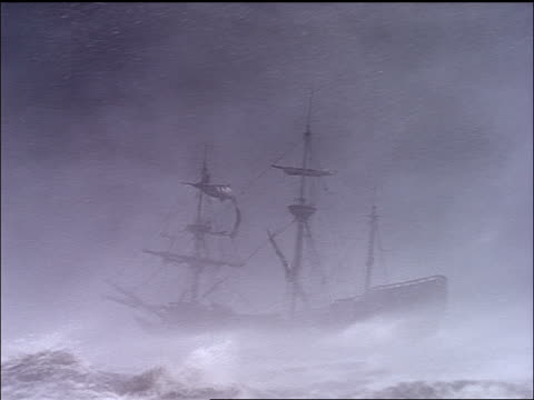la ts clipper ship sailing on rough seas during storm / plymouth adventure (1952) - sailing ship stock videos & royalty-free footage