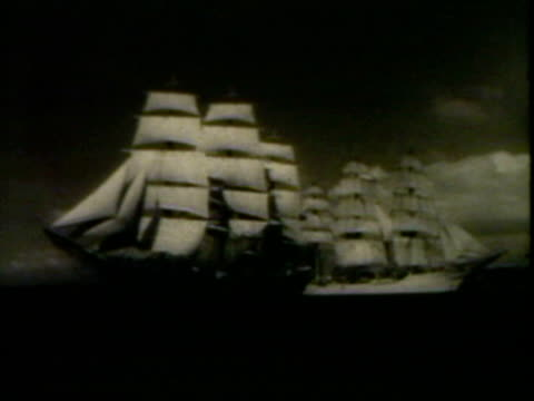Clipper ship, view of it sailing then view of sail